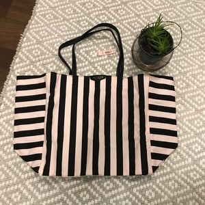 NWT Victoria's Secret pink/black striped XL tote